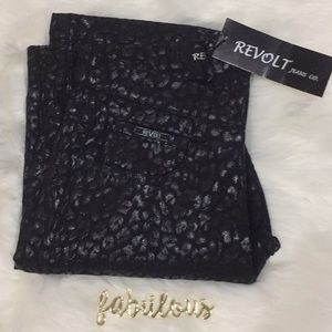NWT Revolt Jeans black leopard stretch pants
